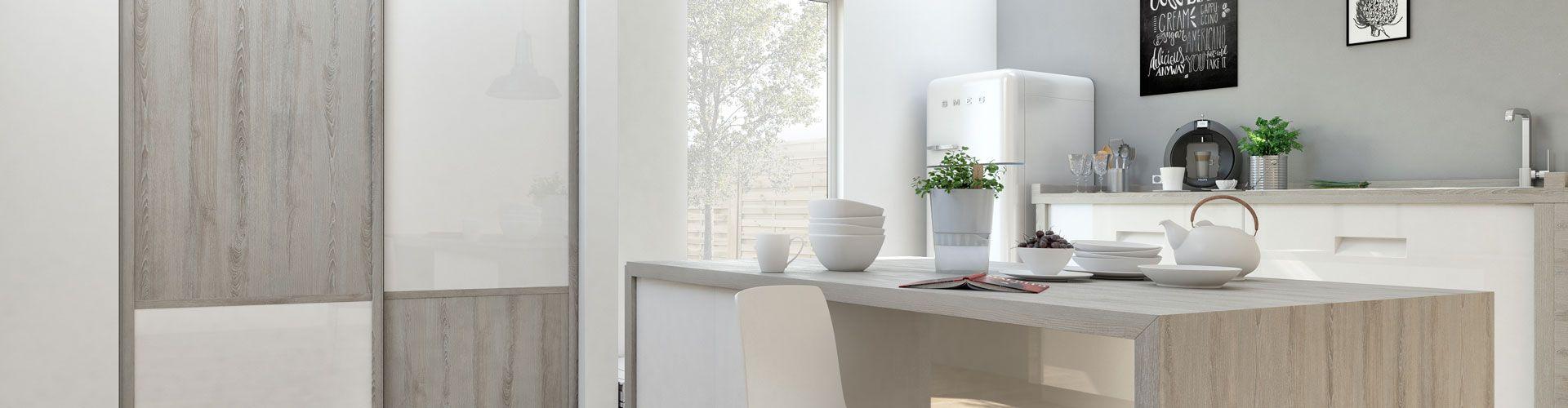 portes de placard d co scandinave blanc et bois gris page 2 kazed. Black Bedroom Furniture Sets. Home Design Ideas