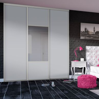 fa ade de placard coulissante 3 portes d cor gris galet. Black Bedroom Furniture Sets. Home Design Ideas