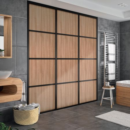 fa ade de placard coulissante 2 portes d cor merisier. Black Bedroom Furniture Sets. Home Design Ideas