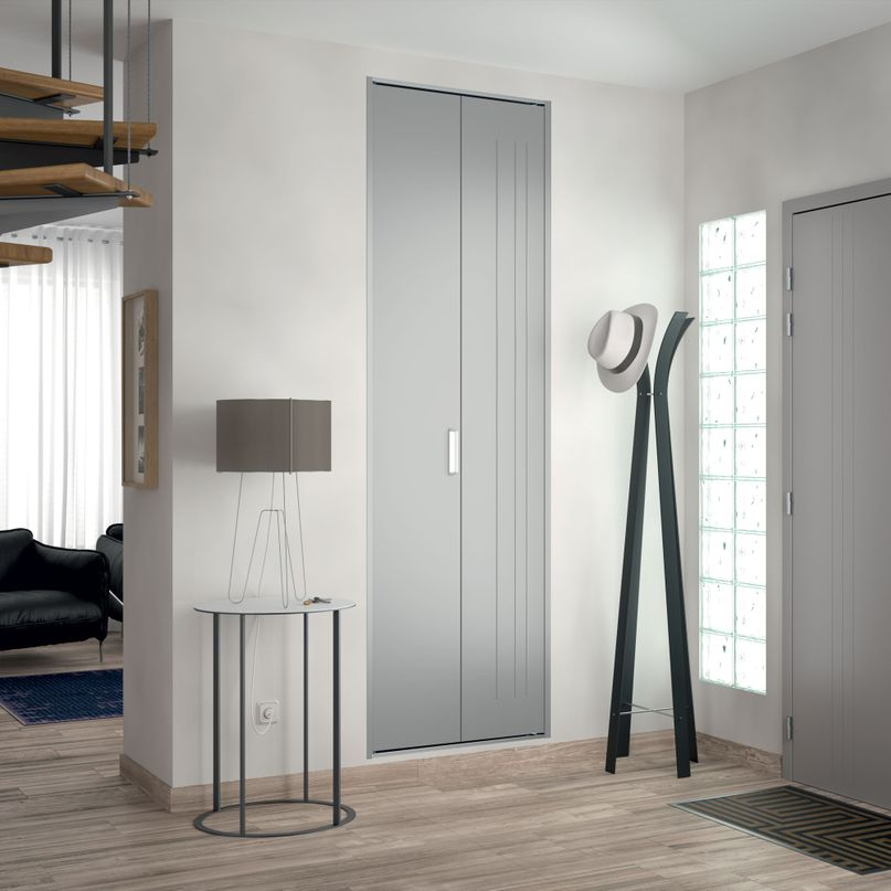 Façade 1 porte pliante métal trio laqué gris métal H2050 mm x L700 mm