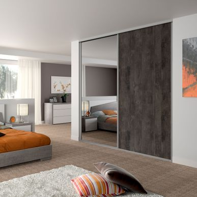 fa ade de placard coulissante 2 portes d cor bois fum. Black Bedroom Furniture Sets. Home Design Ideas