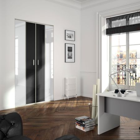 fa ade de placard coulissante 2 portes d cor noir intense. Black Bedroom Furniture Sets. Home Design Ideas